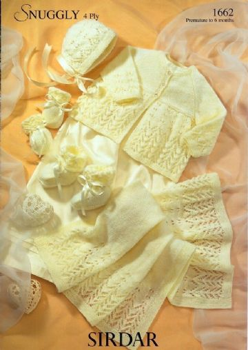Sirdar Snuggly 4 ply Knitting Pattern - Lacy Matinee Set 1662